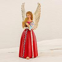 Ceramic figurine, 'Angel from Santiago Atitlan' (11 inch) - Angel from Santiago Atitlan Ceramic Sculpture (11 Inch)