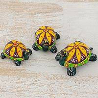 Ceramic figurines, 'Yellow Tropical Turtles' (set of 3) - 3 Handmade Ceramic Turtle Figurines with Floral Shells