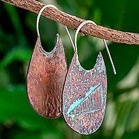 Copper half-hoop earrings, 'Ascent' - Oxidized Copper Triangle Half Hoop Earrings from Guatemala