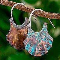 Copper half-hoop earrings, 'Pech Dresses' - Oxidized Copper Half Hoop Earrings from Guatemala