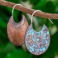 Copper half-hoop earrings, 'Bribri Circles' - Oxidized Copper Circular Half Hoop Earrings from Guatemala