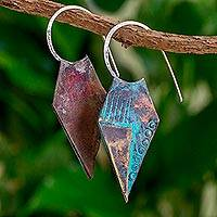 Copper half-hoop earrings,