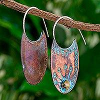 Copper half-hoop earrings, 'Tz'utujil Peacock' - Oxidized Copper Circle Motif Half Hoop Earrings