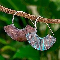 Copper half-hoop earrings, 'Iik Fans' - Oxidized Copper Fan-Shaped Half Hoop Earrings from Guatemala