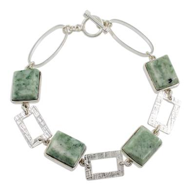 925 Sterling Silver Bracelet Geometric Design with Jade