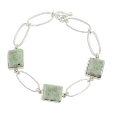 Guatemalan Jade on 925 Sterling Silver Hand Crafted Bracelet