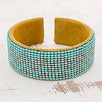 Glass beaded cuff bracelet, 'Volcano Rain' - Glass Beaded Cuff Bracelet in Aqua and Taupe from Guatemala