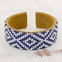 Glass beaded cuff bracelet, 'Guatemalan Colors' - Glass Beaded Bracelet in Cobalt and White from Guatemala