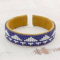 Glass beaded cuff bracelet, 'Volcanic Path in Cobalt' - Glass Beaded Triangle Bracelet in Cobalt and White