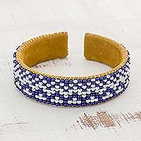 Glass beaded cuff bracelet, 'Cobalt City' - Glass Beaded Bracelet in Cobalt and White from Guatemala