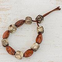 Batik ceramic beaded bracelet, 'Clay Beauty' - Ceramic and Leather Adjustable Beaded Bracelet from Honduras