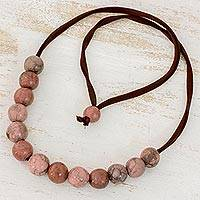 Batik ceramic beaded necklace, 'Earthen Harmony' - Artisan Crafted Ceramic Beaded Necklace from Honduras