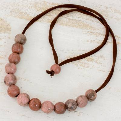 Batik ceramic beaded necklace, Earthen Harmony