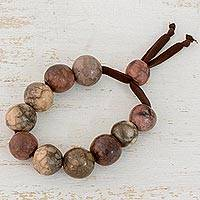 Batik ceramic beaded bracelet, 'Earthen Harmony' - Artisan Crafted Ceramic Beaded Bracelet from Honduras