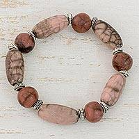 Batik ceramic beaded bracelet, 'Earthen Elegance' - Ceramic and Pewter Beaded Stretch Bracelet from Honduras