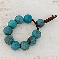 Batik ceramic beaded bracelet, 'Ocean Harmony' - Blue Ceramic Adjustable Beaded Bracelet from Honduras