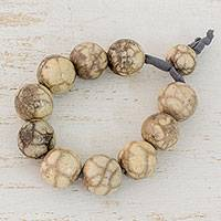 Batik ceramic beaded bracelet, 'Beige Earth' - Handcrafted Ceramic Adjustable Beaded Bracelet from Honduras