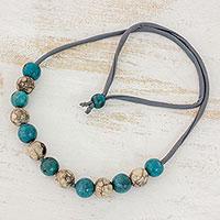 Batik ceramic beaded necklace,