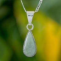 Jade pendant necklace, 'Pale Green Tear' - Light Green Teardrop Jade Pendant Necklace from Guatemala