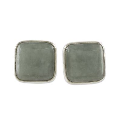 Natural Apple Green Maya Jade and Silver 925 Stud Earrings