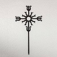 Wrought iron wall cross, 'Love Energy in Black' - Artisan Crafted Iron Wall Cross in Black from Guatemala