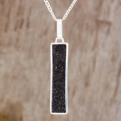 Sterling silver pendant necklace, 'Peace and Energy' - Sterling Silver and Volcanic Ash Necklace from Guatemala