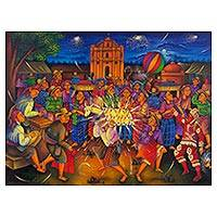 'The Fiesta of San Juan' - Signed Naif Painting of a Guatemalan Saints Day Fiesta