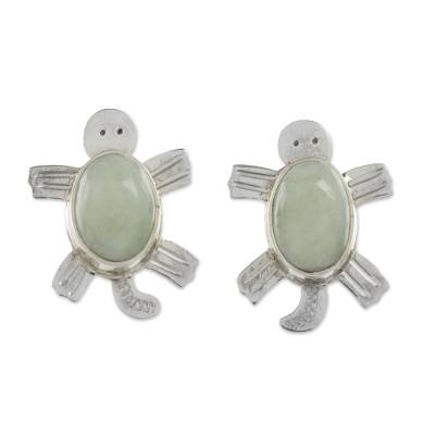 Handcrafted Sterling Silver Sea Turtle Jade Earrings