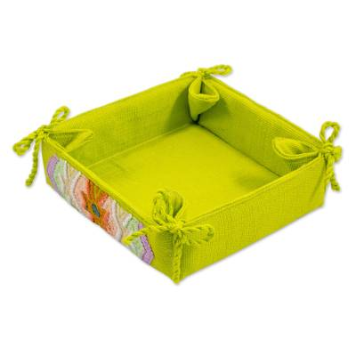Cotton Serving Basket in Chartreuse from Guatemala