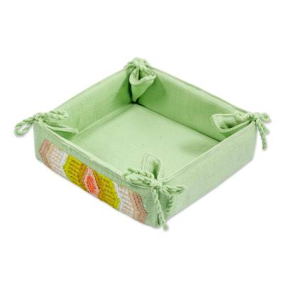 Handcrafted Cotton Serving Basket in Celadon from Guatemala