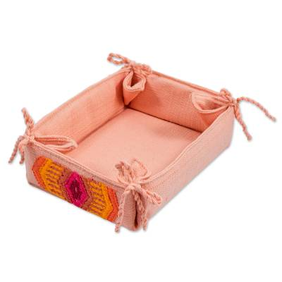 Cotton Serving Basket in Petal Pink from Guatemala