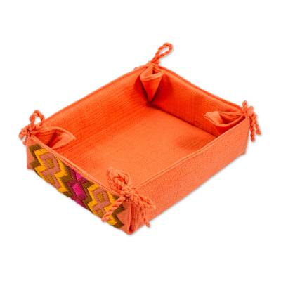 Cotton Serving Basket in Persimmon from Guatemala
