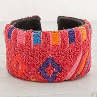 Recycled cotton cuff bracelet, 'Nahualá Beauty' - Recycled Cotton Cuff Bracelet in Strawberry from Guatemala