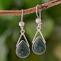 Jade dangle earrings, 'Drops of Peace' - Green Jade and Sterling Silver Teardrop Earrings from Mexico