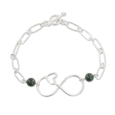 Guatemalan Jade and Sterling Silver Heart Infinity Bracelet