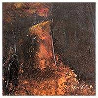 'Volcano God' - Original Signed Abstract Painting with a Fire Theme