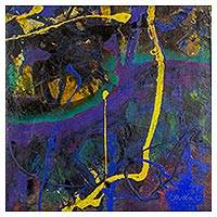 'Lights in Your Veins' - Blue and Violet Abstract Painting with Yellow Accents