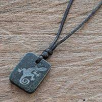 Jade pendant necklace, 'Mayan Gecko' - Black Jade Lizard Pendant Necklace from Guatemala