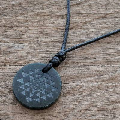 Jade pendant necklace, 'Geometric Inspiration' - Black Jade Geometric Pendant Necklace from Guatemala