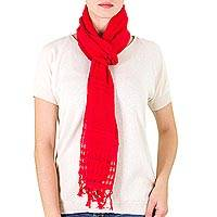 Cotton scarf, 'Sweet Femininity in Strawberry' - Handwoven Cotton Scarf in Strawberry from Nicaragua