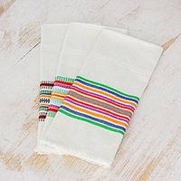 Cotton dishtowels, 'Village Celebration' (set of 3) - Striped Multicolor 100% Cotton Dishtowels (Set of 3)
