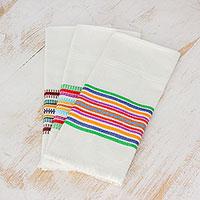 Cotton dishtowels, 'Village Celebration' (set of 3) - Striped Multicolor 100% Cotton Dishtowels (Set of 3)