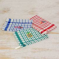 Cotton dishtowels, 'Fresh Color' (set of 3) - Multicolor Plaid Cotton Dishtowels (Set of 3)