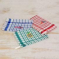 Cotton dishtowels, 'Fresh Color' (set of 3) - Multicolor Plaid Cotton Dishtowels (Set of 3)