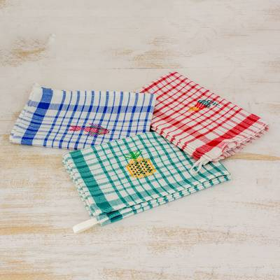 Cotton dish towels, 'Fresh Color' (set of 3) - Multicolor Plaid Cotton Dish Towels (Set of 3)