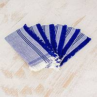 Cotton napkins, 'Delights of Home' (set of 6) - Blue 100% Cotton Napkins from Guatemala (Set of 6)