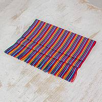 Cotton table runner, 'Rainbow Colors' - Multicolor Striped Cotton Table Runner from Guatemala