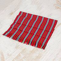 Cotton table runner, 'Latin Festival' - Red Striped 100% Cotton Table Runner from Guatemala