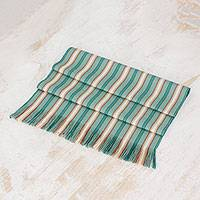 Cotton table runner, 'Forest Path' - Green Striped Cotton Table Runner from Guatemala
