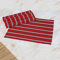Cotton placemats, 'Palopó Trails' (set of 6) - Six Striped Cotton Placemats in Crimson from Guatemala